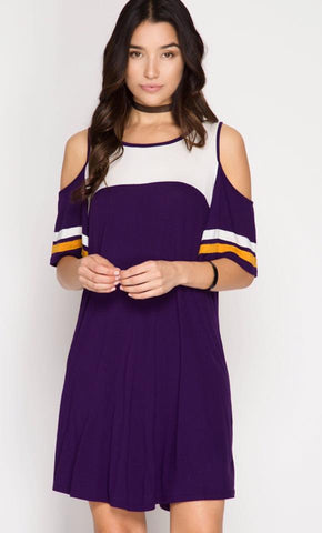 *CLEARANCE* Game Day Cold Shoulder Dress - Purple/Gold