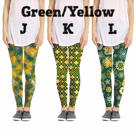 Game Day Green/Yellow Leggings