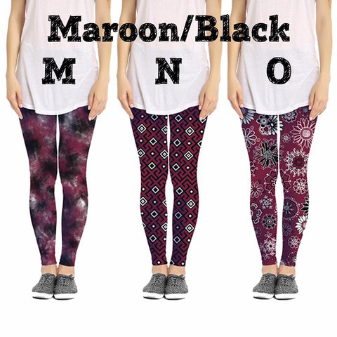 *CLEARANCE* Game Day Maroon/Black Leggings