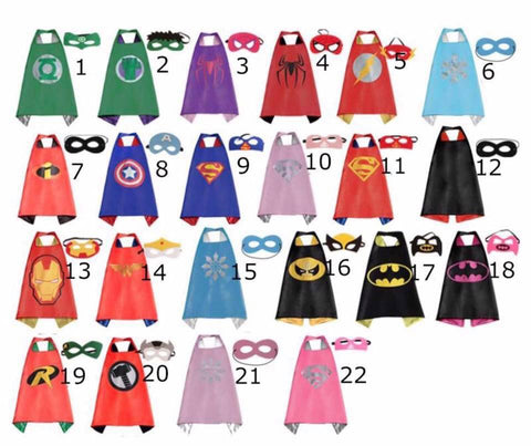 Kids Superhero Cape/Mask Set