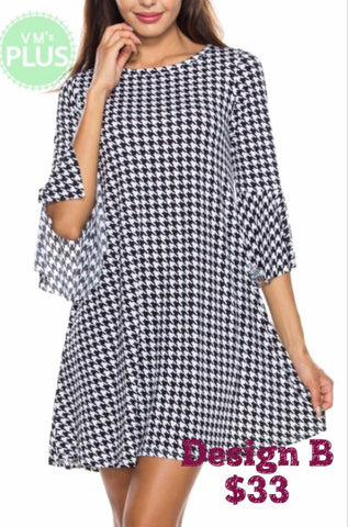 Black Houndstooth Bell Sleeve Dress (Misses & Curvy)