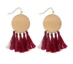 Brushed Circle Threaded Tassel Earrings