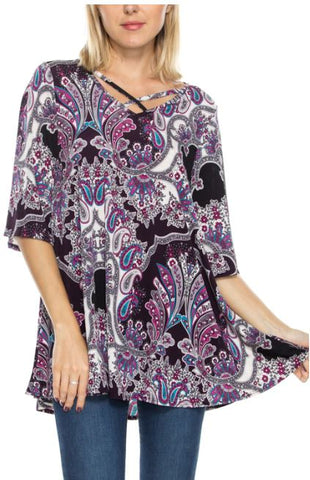 Paisley Print Half Sleeve Tunic Top
