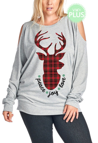 PLAID REINDEER GRAPHIC COLD SHOULDER TOP