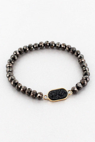 BLACK DRUZY OVAL FACETED BEAD STRETCH BRACELET