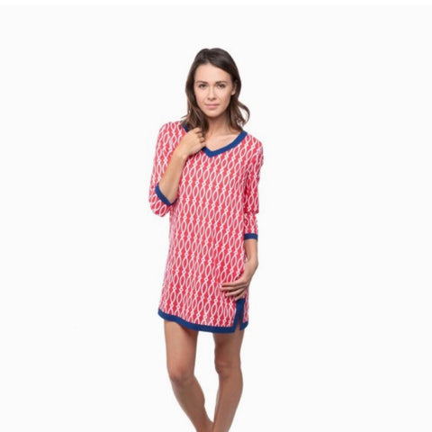Coral/Navy Tunic Dress/Cover Up