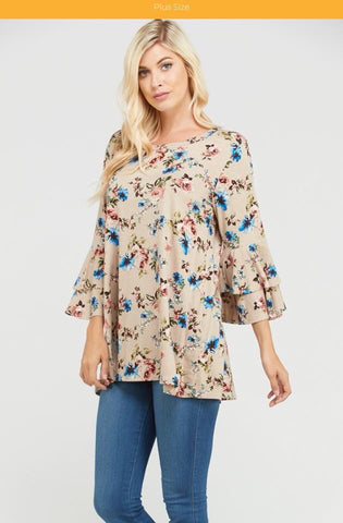 Taupe Floral Print Ruffle Sleeve Top*