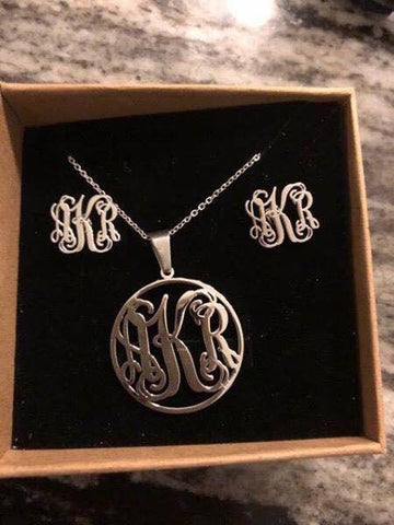 Monogram Necklace & Earrings Set