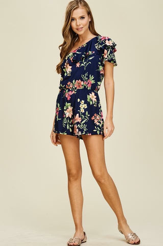 One Shoulder Floral Knit Romper