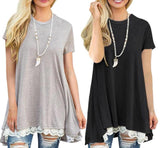 Short Sleeve Lace Accent Top