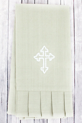 OAT WITH WHITE CROSS RUFFLED HAND TOWEL