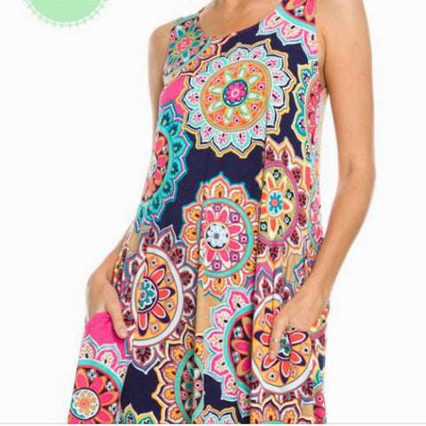 Medallion Print Sleeveless Dress with Pockets