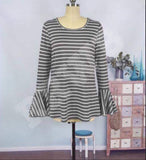 Cayce Stripe Bell Sleeve Top