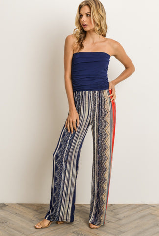 Navy/Ivory Strapless Jumpsuit