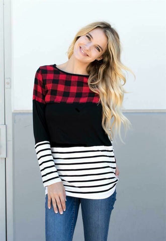 Plaid/Stripe Tunic Top
