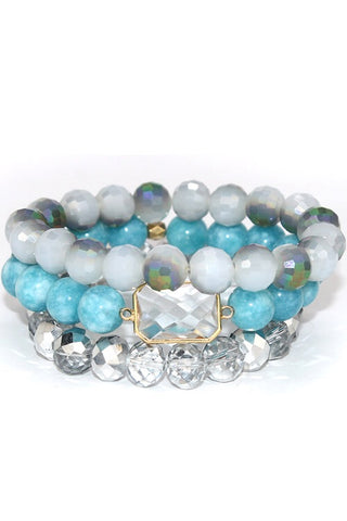 Teal Stone Stretch Bracelet