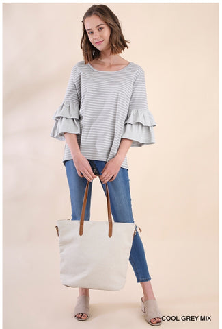 UMGEE Striped Bell Sleeve Top