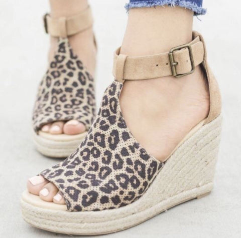 Leopard Peep Toe Wedge