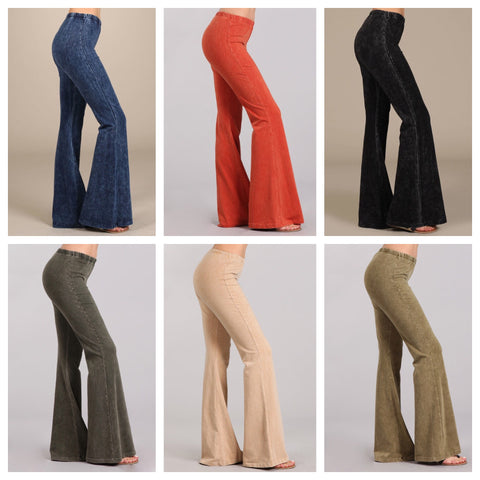 Chatoyant Mineral Wash Bell Bottom Pants
