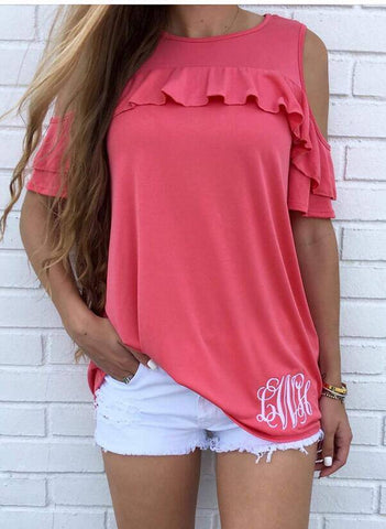 Cold Shoulder Short Sleeve Ruffle Top