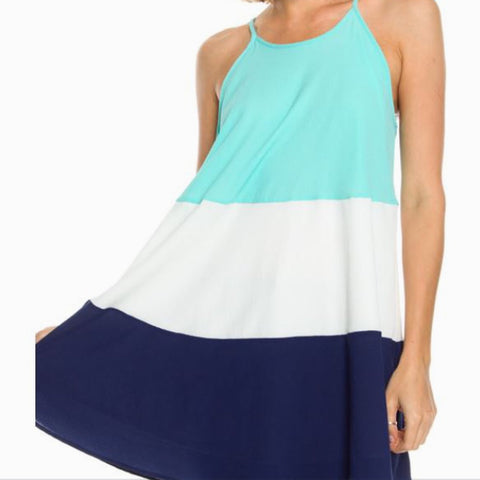 Color Blocked Halter Tunic