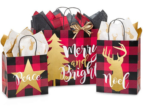 Buffalo Plaid Gift Bag Sets