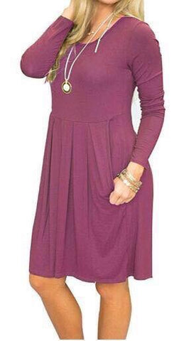 Solid Long Sleeve Babydoll Dress w/Pockets*