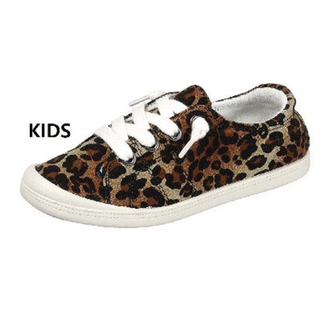 Kids Leopard Lace-Up Sneaker
