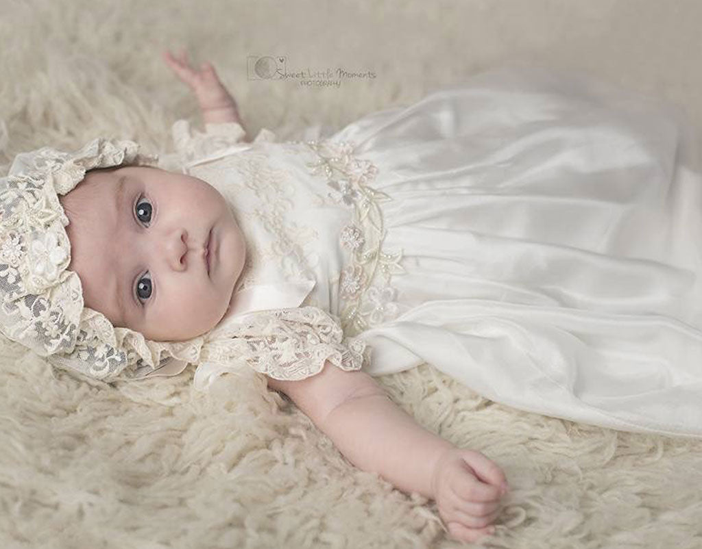Aria Grace's Christening Day | Jessica Silk Gown & Lace Bonnet Set