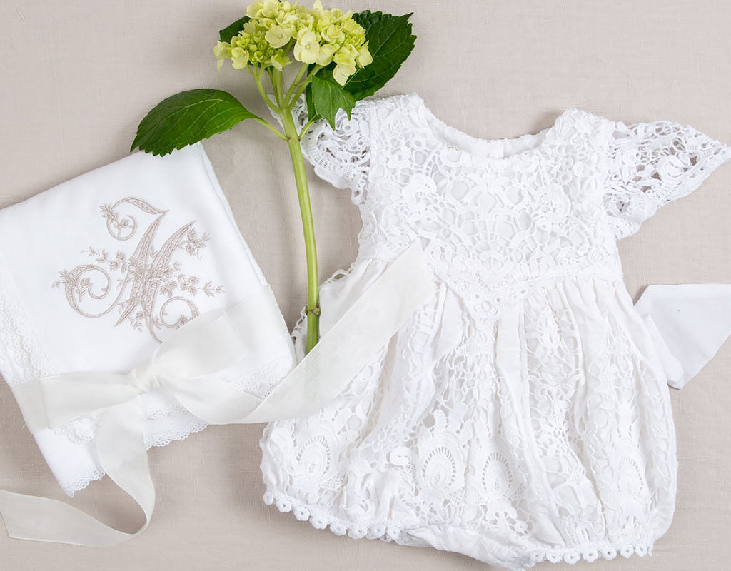 Spring Christening | Grace White Lace Romper
