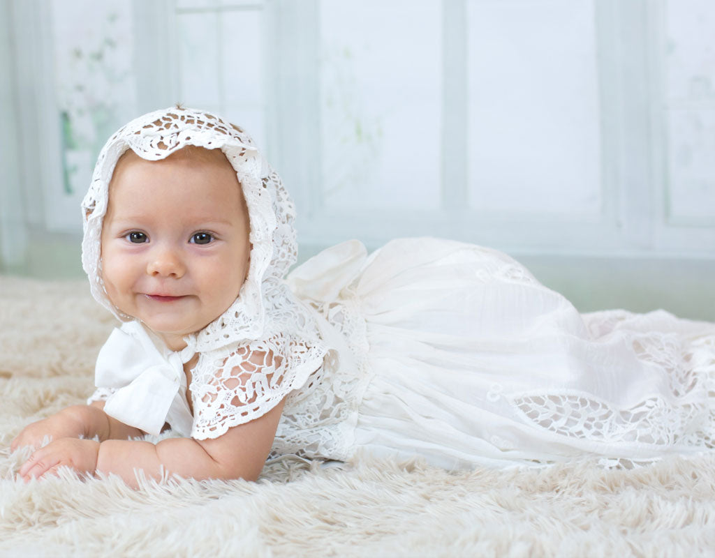 Grace's Baptism Day | Grace Christening Gown & Bonnet Set
