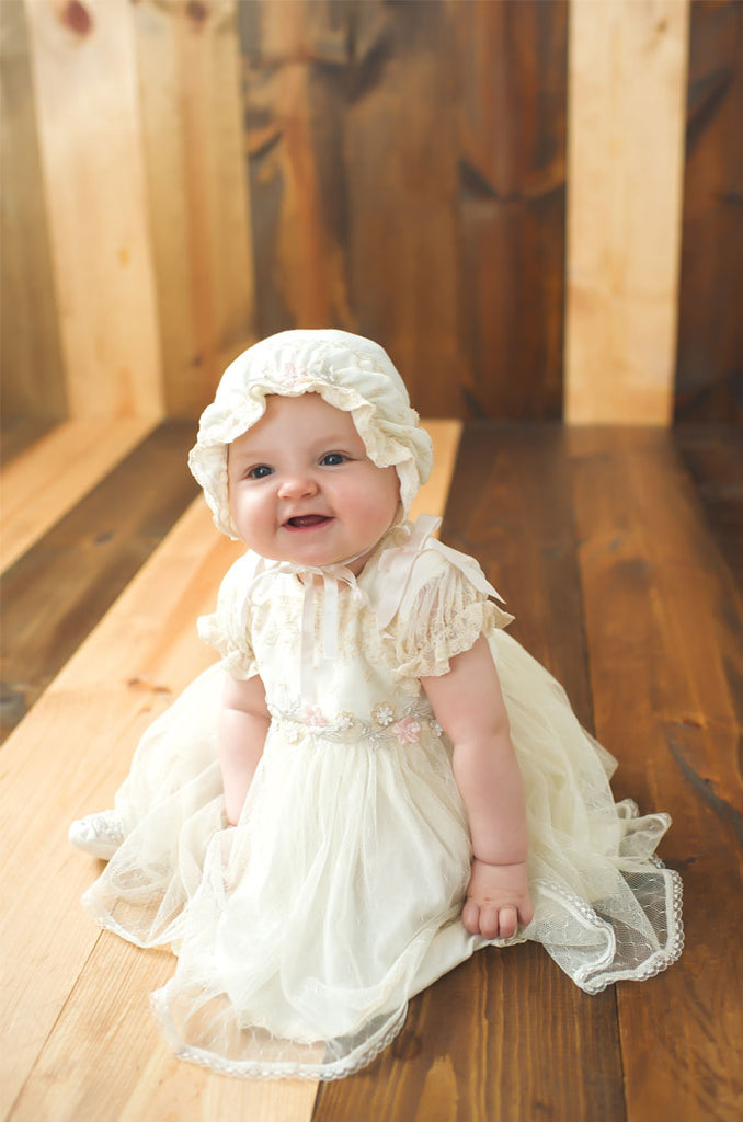 STELLA ROSE'S BAPTISM PHOTOS | JESSICA COTTON BAPTISM DRESS & BLOOMERS