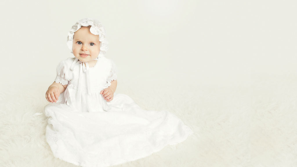 Chiara's Christening Photo Session in Melissa Christening Gown & Bonnet Set