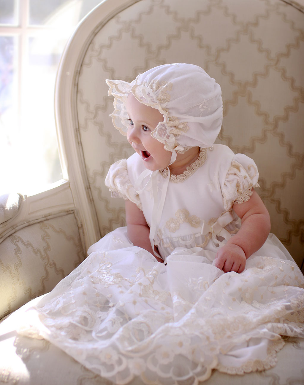 Emmaline's Christening Photos | Gwen Christening Gown & Bonnet