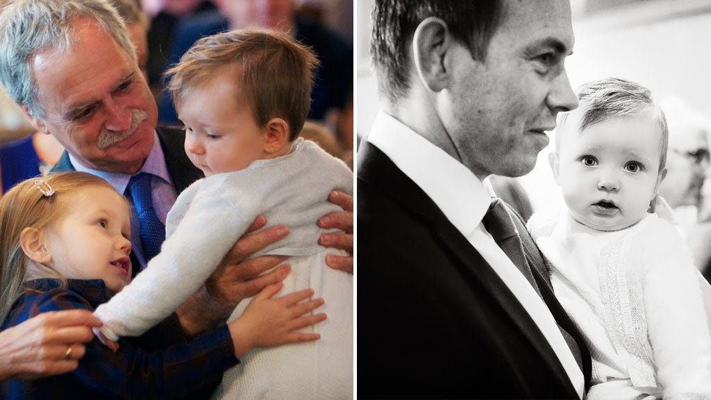 Jake's Christening Ceremony in the Harrison Jumpsuit & Sweater Set