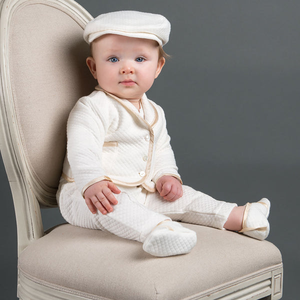 Boys Quilted Christening Suit