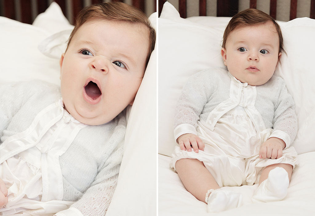 Luca's Christening Story | Cameron Silk Christening Jumpsuit & Sweater