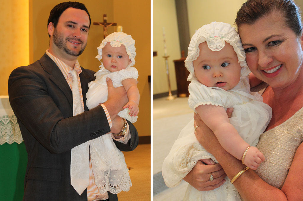 Lucy's Baptism Wearing Clementine Christening Gown & Bonnet