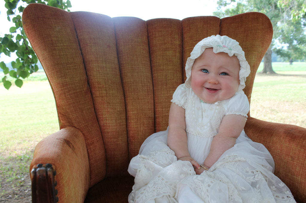 Lucy's Baptism Photoshoot in the Clementine Baptismal Gown & Bonnet