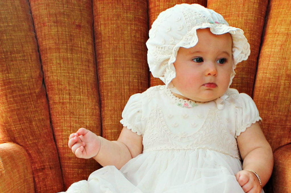 Lucy's Baptism Photoshoot in the Clementine Christening Gown & Bonnet