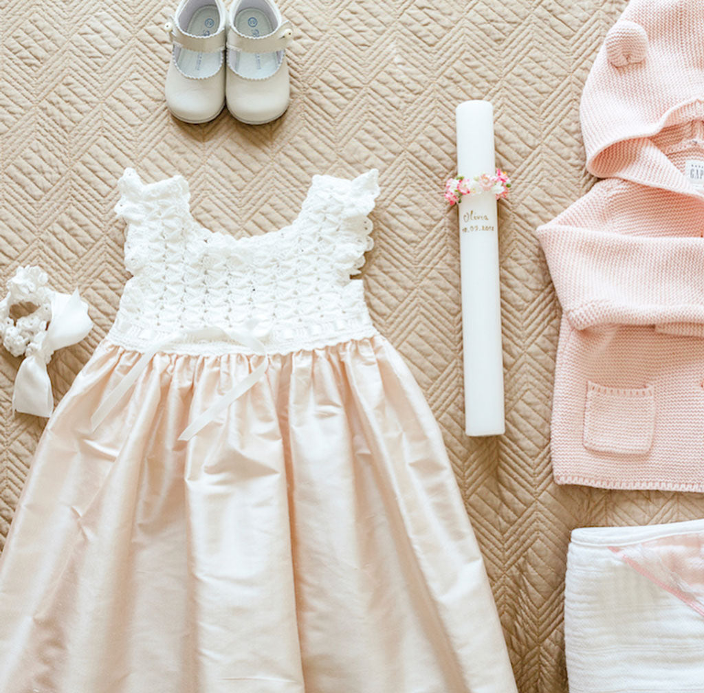 Olivia Baptism Day in Portugal | Marita Pink Silk Baptism Dress