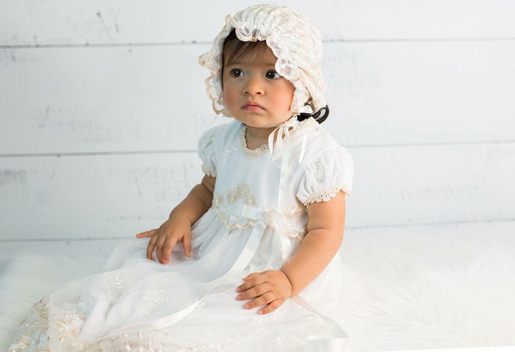 Olivia's Christening Story | Gwen Christening Gown & Bonnet