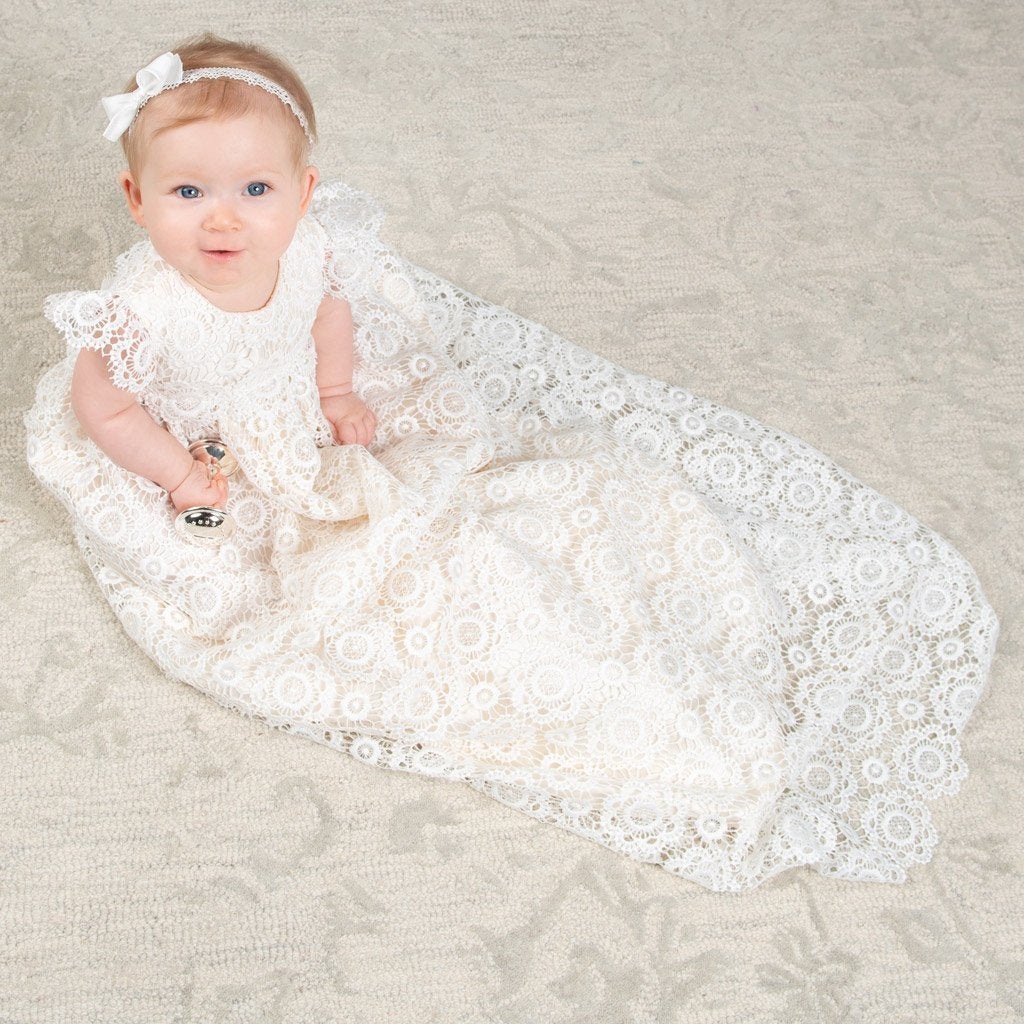 poppy lace christening gown