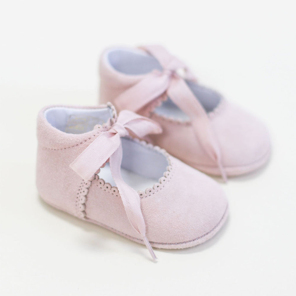 Blush Suede Tie Mary Janes