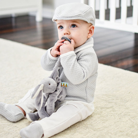 Grey Silly Bunny Buddy | Pacifier Holder
