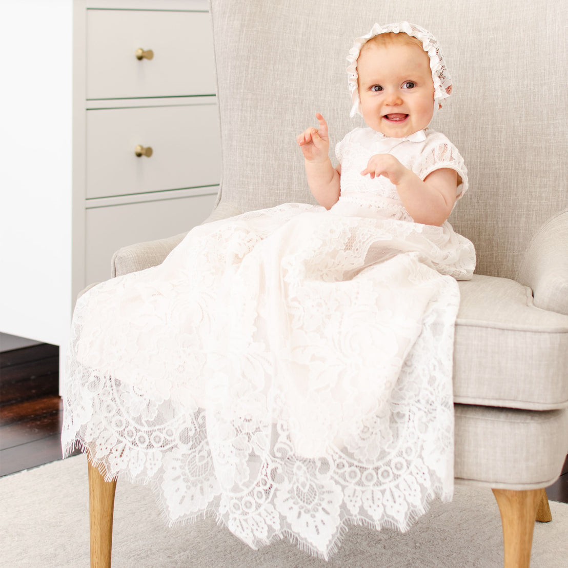 Victoria Puff Sleeve Christening Gown & Bonnet
