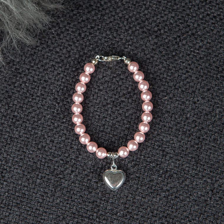 Pink Luster Pearl Bracelet with Silver Heart Charm