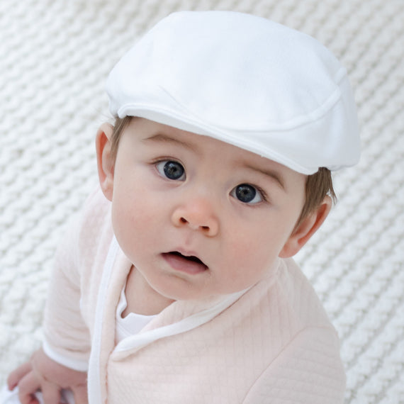 White French Terry Newsboy Cap