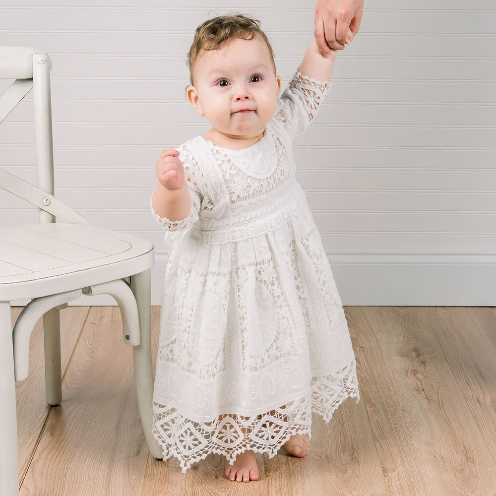 Adeline Lace Christening Dress Bloomers Limited Stock