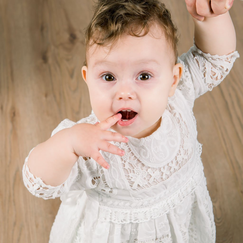 Adeline Lace Christening Dress & Bloomers *LIMITED STOCK* -